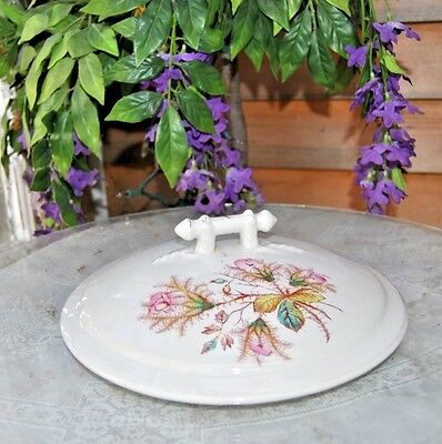Vintage Victorian Chamber Pot Lid, Wonderful Floral Pink, Green And White