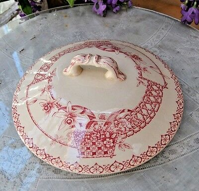 Vintage Victorian Chamber Pot Lid, Wonderful Floral Red And White