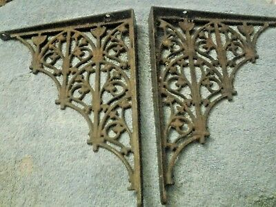 Vintage  Victorian Floral Shelf Bracket pair  10 inch