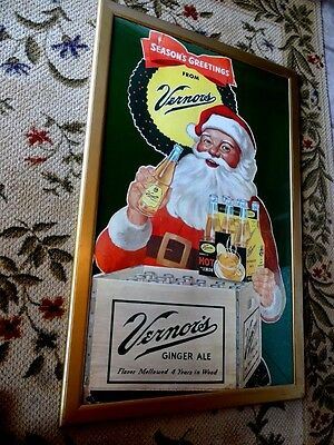 Vintage 1950 Santa Promotes Drink Vernor's Ginger Ale Advertising Sign In Frame