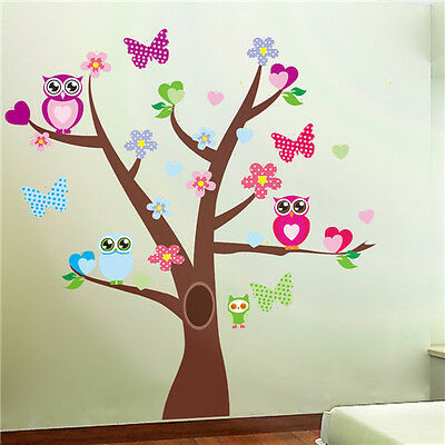 Beautiful nursery wall stickers owl tree butterfly baby Girl vinyl decal decor