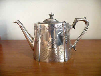Antique Victorian Hand Chased Silver Teapot Aesthetic Design