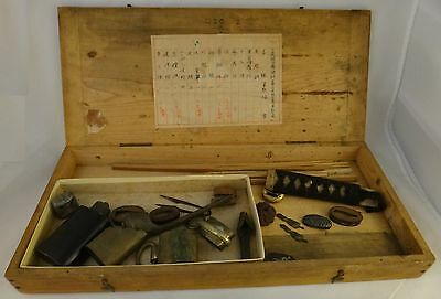 Antique Japanese Samurai Sword Work Box w/ various accessories