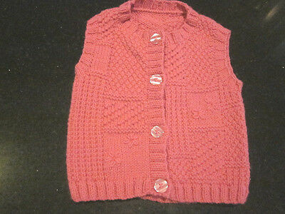 Hand Knitted Baby Sleeveless Cardi  Size 00  New Without Tags