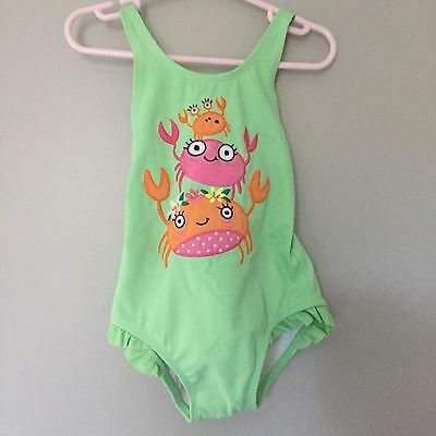 Gymboree girls toddler crab applique ruffle green lined one piece swim suit 3T