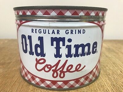 keywind tin OLD TIME COFFEE 1lb Original Lid ROUNDY'S INC Milwaukee Wis