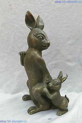 "12"" China brass copper carved beautiful rabbit mother and son Sculpture Statue"