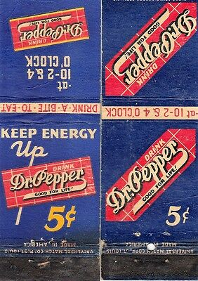 107: TWO DR. PEPPER matchbook covers 10-2-4- NICKLE
