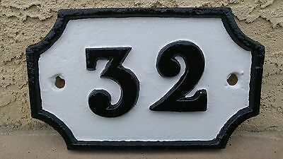 """Antique Cast Iron House Number Sign 32 French Style Victorian 8.5"""" Wide"""