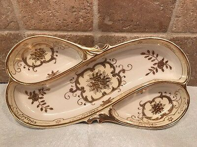 Gold / Gilt Divided Porcelain Dish / Tray Vintage Japan