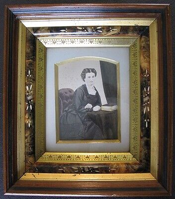 Antique Aesthetic Eastlake Victorian Deep Frame w Tinted Photo of Woman w Book