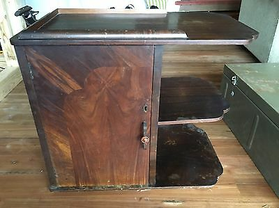 Antique Art Deco Tea Cart Trolley Shelving Cupboard Wood Display