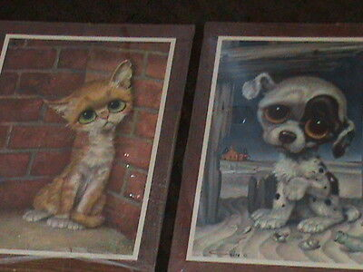 Vintage GIG Big/ Sad Eyes Cat and Dog Wall Plaque Lot - 1960's!