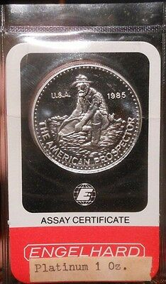 1985 1 oz Platinum Round - Engelhard (Prospector, In Assay, Sealed)