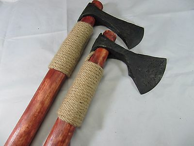 Ancient Viking Battle 2 Bearded Axe Set 9 - 10 Cent Hand Carved Handle + Shield