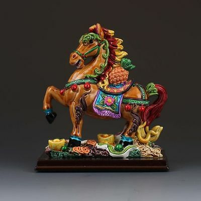 Chinese Cloisonne Porcelain painted Fine Horse Statue