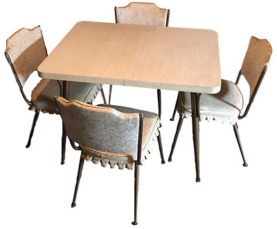 Mid Century Daystrom Formica Dinette Kitchen / Dining Table 4 Chairs 1960s