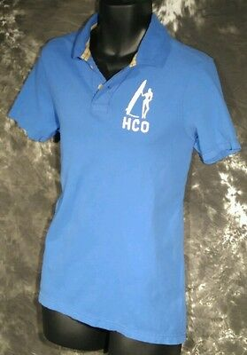 Men's Hollister Blue Polo Large L Short Sleeve Shirt HCO Surf