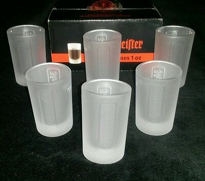 NEW BNIB Set of 6 Frosted Jagermeister Jager 1 OZ Shot Glasses Party Time