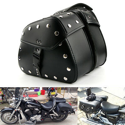 Motorcycle Black Leather universal Saddle Bags Rider Motorbike Panniers Luggage