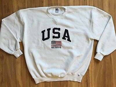 Vintage 90s Russell Athletic Sweatshirt USA Flag Spell Out XXL (XL) Polo Look