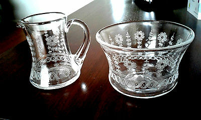 Vintage STUART CRYSTAL Edwardian Etched Sugar Bowl & Jug Creamer Set~ EXQUISIT~
