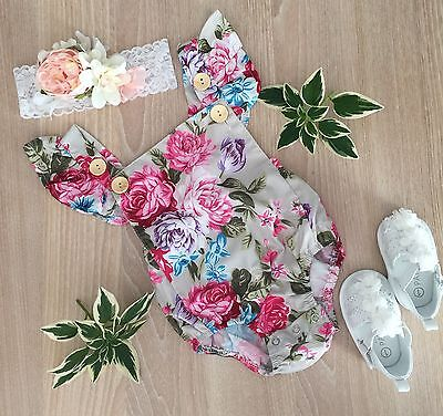 Infant Baby Girl Floral Body Suit Romper 3-6 Months
