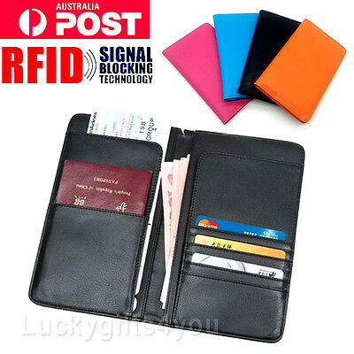 NEW Travel Wallet RFID Blocking Anti Scan Long Passport Holder Synthetic Leather