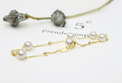 AAA 4.5-5.5MM White Real Akoya Cultured Pearl Bracelet 18K Solid Yellow Gold