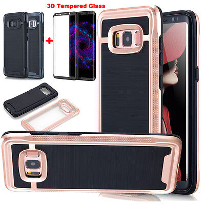 For SAMSUNG GALAXY S8/S8 Plus IMPACT Case Cover Tempered Glass Screen Protector