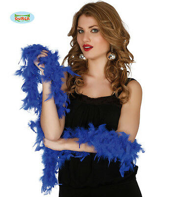 Boa Blu in Piume Lunghezza 1,80 Mt, 40 gr Carnevale Halloween Charleston