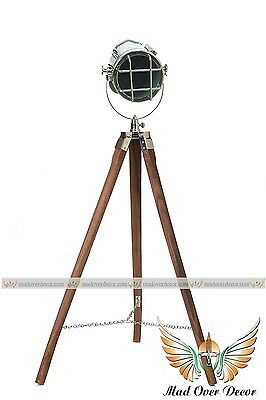Studio Marine Chrome Searchlight Spot Light  Floor Lamp With Tripod Stand Scope@