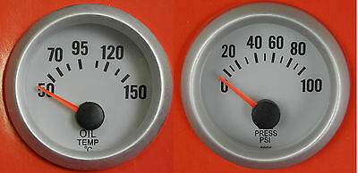 S4 Universal 52mm Oil Pressure & Oil Temp gauge with senders and blue back light