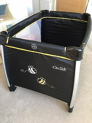 iCan Bee Travel Cot With Additional Mattress - Black - Mint Condition