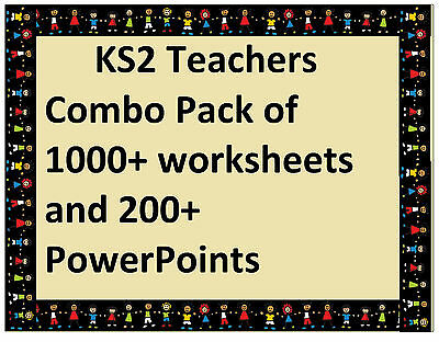 Combo Pack of over 1000 KS2 Worksheets and 200+ PowerPoints Year 3 4 5 6 KS2 NQT