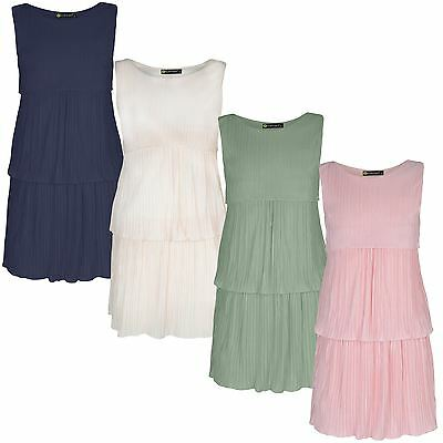 Girls Sleeveless Tiered Plisse Dress Pleated Casual Summer Party Top Skirt 3-14Y