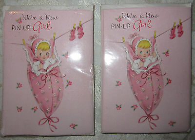 10 Vintage Pink Baby Girl Announcements with Envelopes Gatto New York  Pin-up