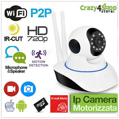 Telecamera Ip Camera Hd 720P Wireless Led Ir Lan Motorizzata Wifi Rete 2 Antenne