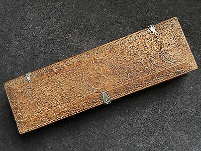 ANTIQUE INDIAN MOGHUL18th CENTURY SILVER MOUNTED CARVED SANDALWOOD SCRIBES BOX.