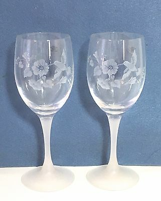 Set Of 2 Avon Etched Crystal Hummingbird Wine Glasses, New In Box