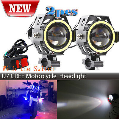 2X 125W Motorcycle CREE U7 LED Headlight Spotlight White Halo Eyes & Switch
