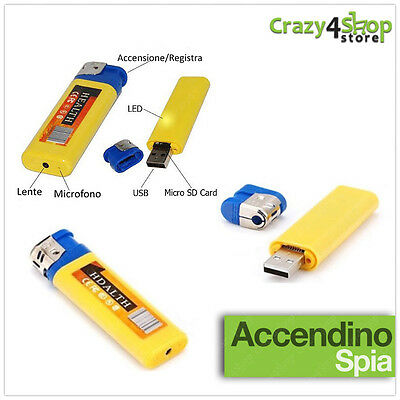 Accendino Mini Micro Telecamera Nascosta Video Camera Spia Spy Usb Audio Foto
