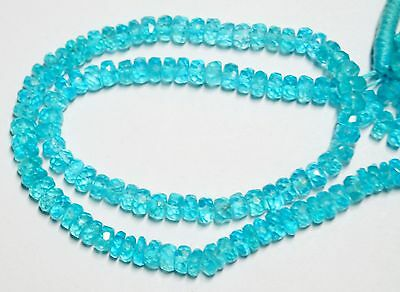 """98Cts. 13"""" 5 Mm Ultimate Quality Micro Faceted Blue Color Apatite Beads Strand"""