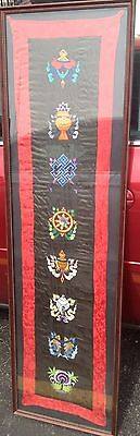 Fine Old Large Chinese Imperial Symbols Silk Embroidery Textile Panel