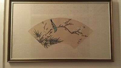 A Pair Of Chinese  Floral Fan Shaped  Paintings On  Thin Silk. Glazed Frames.