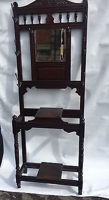 Antique Mahogany Hall Stand With Key Box