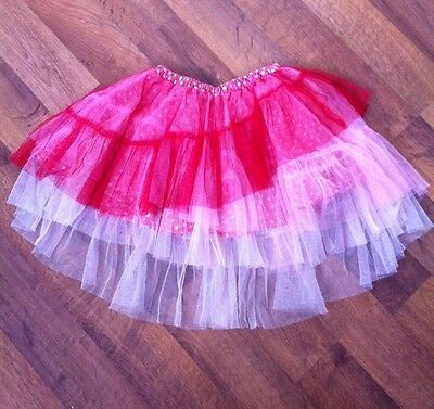 EUC Girls Paper Wings Red Pink Tulle Skirt  Size 8