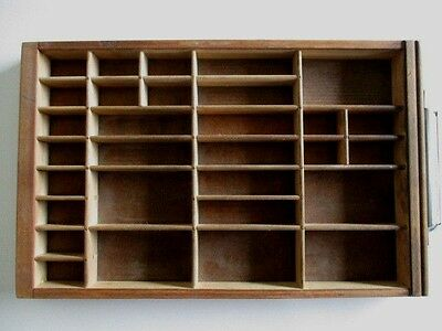 Vintage Type Tray HAMILTON Printers Drawer Shadow Box 30 Sections