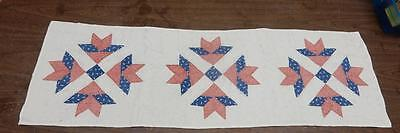 Antique Patchwork Star Pattern Textile Table Runner 46 x 14 1/2 inches-NICE!