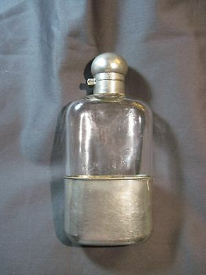 Antique Hip Flask Keystone Railroad Pewter Hand Blown Glass